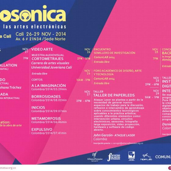 Poster del Encuentro de Artes Electrónicas Videosonica 2015