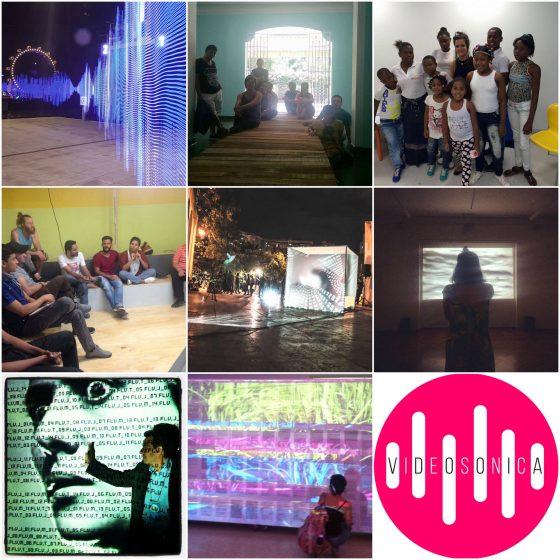 Collage de imágenes del encuentro de artes electrónicas Videosonica 2017